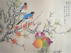 Hand-painted scroll painting (reproduction Zhang Daqian)《张大千-花鸟 石榴》镜心- China - late 20th century