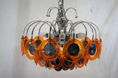 Unknown designer - Chandelier with glass discs, 12 lights