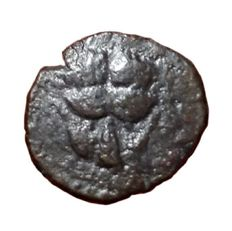 The Greek Antiquity - Bruttium, Rhegium - Æ  Onkia (13mm, 1,14g.) c. 425-420 BC - Lion's scalp / R E - HN Italy 2516 - Rare