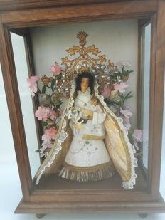 Madonna with child in oak frame