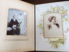 Album with 19 carte-de-cabinet and 27 carte-de-visite photographs, 1889