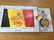 Belgium – 10 and 20 ECU 1990/1991 Boudewijn (2 pieces) – gold with silver edge
