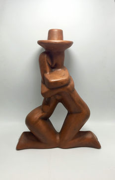 Maxim - 'Boy kissing a Girl' - Art Deco terracotta sculpture / candlestick