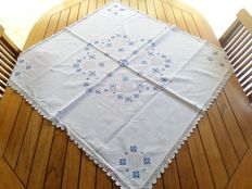 Handmade tablecloth - peahole hemstitch and cross stitch -  Italian lace