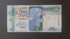 World - 8 currency notes of the Seychelles and 5 currency notes of the Comores