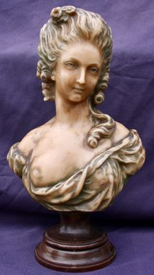 Woman bust of Madame Du- Barry in wax - France - Early 20th century