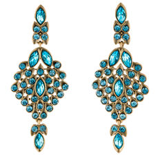 Oscar de la Renta Blue Crystal Earrings