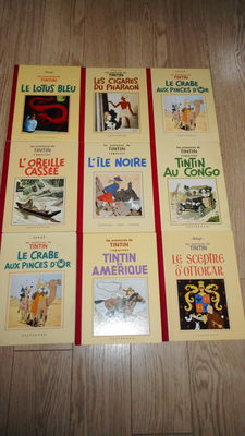 Tintin 1 t/m 9 - 9x facsimile zwart/wit (groot formaat) - complete serie - franstalig - 9x hc - 1e druk heruitgave (1987-1995)