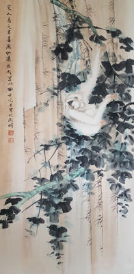 Hand-painted scroll painting《田世光-白猿》 - China - late 20th century