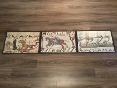 Three framed tapestries - Tapisserie De Bayeux - Normandy