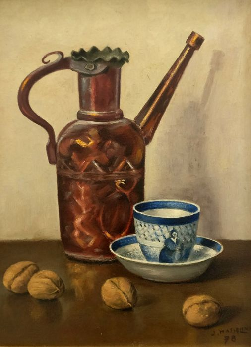 Unknown (20th century) - Stilleven met koffie kopje, kan en noten