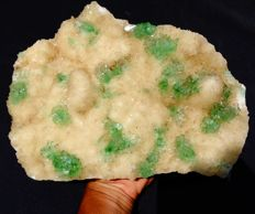 Large specimen of green Apophyllite crystals on Stilbite - 28 x 21 cm - 3466 gm