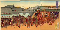 "Houtsnede drieluik door Utagawa Kunitoshi  ""View of the Imperial Carriage"" - Japan - 1889"