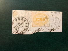 Italy, Kingdom 1864 - Fragment with postage due 10 cent. yellow and Bondeno cancellation - Sass.  N°  1