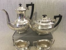 Vintage silver plated set of four Semi  fluted design tea / Coffee Set . Sheffield. First half of 19th century.