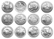 Isle of Man - Crowns 1993/2004 'Chinese Lunar' (12 pieces) compleet