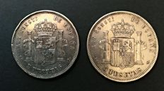 Spain - Alfonso XIII - 5 Pesetas 1892 *18-92 PGM + 1893 *-93 PGL - 2 coins