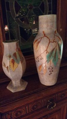 A. Dubois - 2 Art Deco earthenware decorative vases