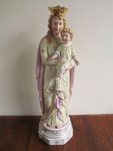 Bisque porcelain Mary statue - Germany - C. 1900