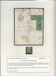 France 1859 - Rare Franking of 20c (5c early 1854 Louis Napeoleon pair and 2 singles) from Albi to Paris
