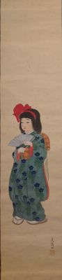 Scroll painting on silk of a young girl in kimono - Japan - c. 1920