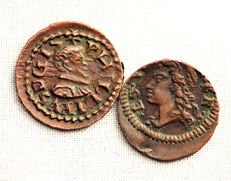 Spain - Felipe III and Carlos III (Austria) - Lot of Diner made of Copper - 2 coins - Barcelona and Granollers