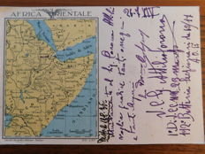 """Lot of 5 postcards and a book - Gorgeous and historical postcards: Italian East Africa Armed Forces - Orbetello Airforce Squad Departure - Book """"La Guerra di Etiopia"""" 1936 - 3 postcards """"Vinceremo"""""""