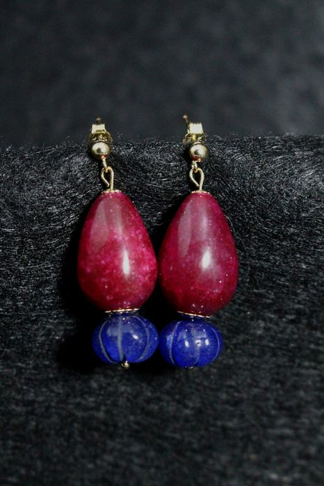 Melon sapphire beads and drop rubies earrings - 14 kt Gold - 50 ct - total height: 3.7 cm