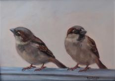 Hans Mijnsbergen ( 1945 ) - Sparrows on the roof