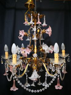 Maria Theresa style six-light chandelier - Italy, 1960s