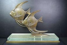 Art deco style bronze fish figure on glass base