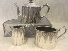 Vintage silver plated highly engraved three piece tea set . England. 1850/ 1899