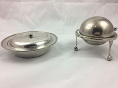 William r. Shirtcliffe & son Sheffield 1872-1881 Vintage silver  plated covered dish. &. Vintage caviar butter dish roll top silver plated downton style