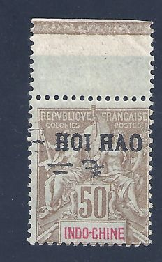 Former French Colonies - Hoï-Hao - Stamp with variety part of reversed overprint - Yvert no. 28