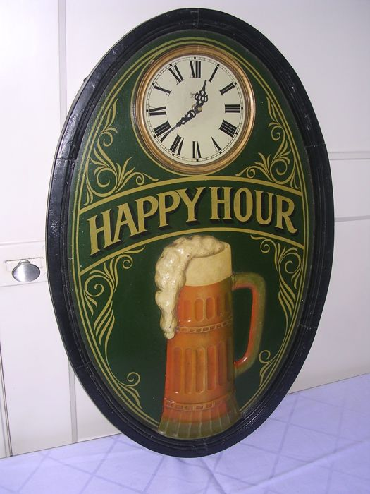 Large decorative wooden pub sign with time clock ...