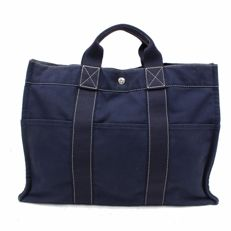 Hermès -  Fourre Tote MM Hand Tote Bag Blue Navy Cotton
