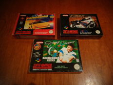"Snes ""GP-1"" + ""Lamborghini American Challenge"" + ""Jimmy Connors Pro Tennis Tour"" ALL FAH Versions and Fully Complete"