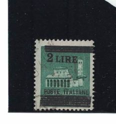 Italy, 1945 - 'Destroyed Monuments' Lire 2 on the 25 cent.  with misaligned overprint - Sass.  N°  525