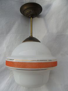 Art-Deco opaline hanging lamp