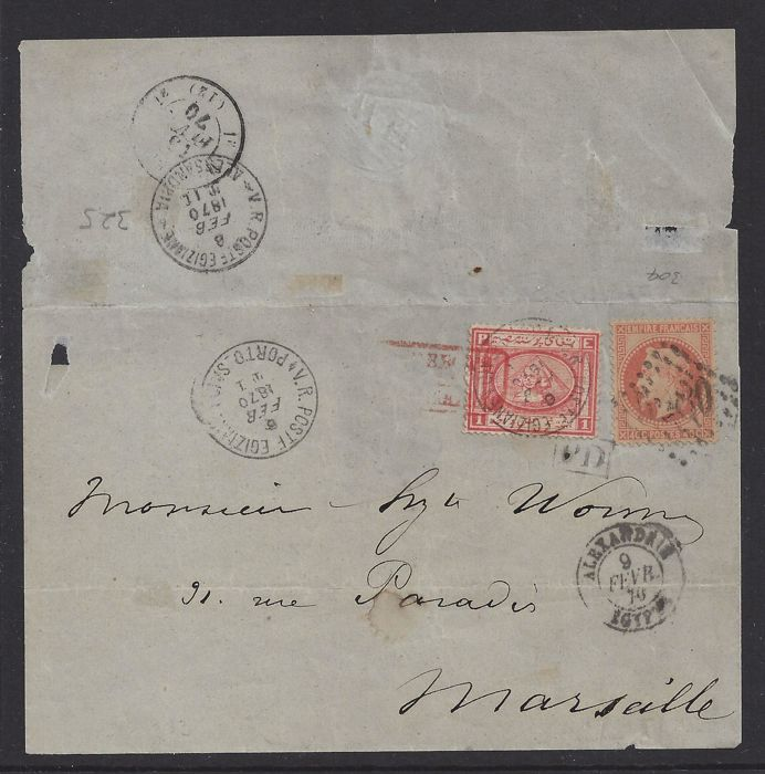 Frankrijk 1870 - Mixed Franking from Alexandrie to Marseille