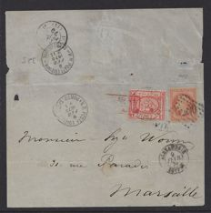 France 1870 - Mixed Franking from Alexandria to Marseille