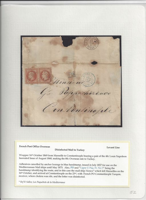 France 1869 - Postage of 80c French Post Offices Overseas (40c in pair) Mail to Turkey.