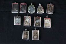 Lot of 11  Buddhist amulets – Thailand – late 20th century
