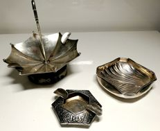 3x silver 800 ashtrays - Italy, mid 20th century