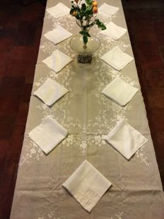 Excluding a very large beautiful floral embroidered linen tablecloth with twelve beautiful napkins, top quality!