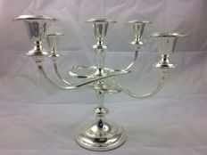 20 century silver plated 5 stick candle stick . Made in England