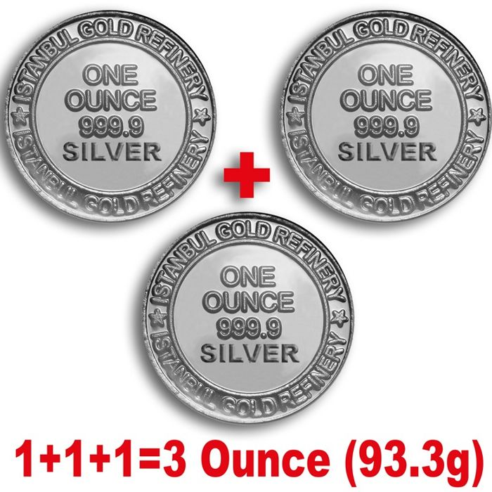 3 x 1 Ounce ( 93.3g)  999 Fine  3 Silver  Bullion Coins , *** LOW RESERVE PRICE  ***