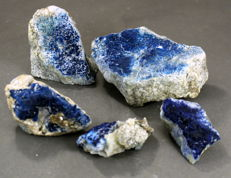 Large lot of Blue Translucent Hauyne  Mineral Specimens  -916 gr (5)