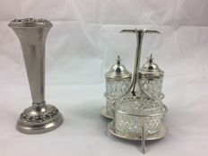 Vintage glass & silver plated cruet set.  &. Vintage silver plated lanthe vase holder or incense burner. 20 century. Both