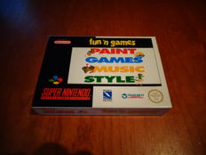 "Super Nintendo ""Fun ´n Games, Paint Games Music Style"" Brand New"